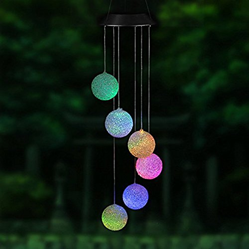 Lembeauty Solar Powered LED Wind Chime, Portable Color Changing Spiral Spinner Windchime Outdoor Decorative Windbell Light for Garden Patio, Deck, Yard