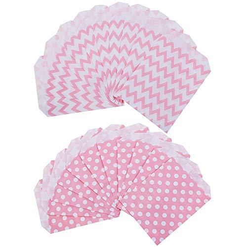 Xinlie Candy Bar Tüte Blickdichte Kraftpapier Baby Rosa Papier Partytüten Candybag Rosa Süßigkeiten Papiertüten Geschenktüten Tüten für Geburtstag,Hochzeit,Baby- Dusche,Feier Parteien(50 Stück ) (Baby-dusche Bar Für Candy)