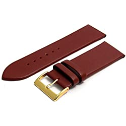 Fine Calf Leather Watch Strap Band 28mm Burgundy with Gilt (Gold Colour) Buckle. Free Spring Bars (Watch Pins)
