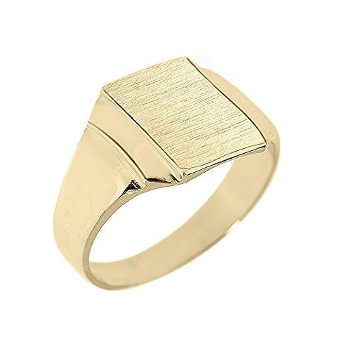 Little Treasures - 10K Engravable Solid Yellow Gold Men's Signet Ring