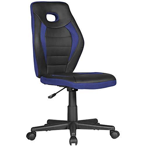 KS-Furniture Kinderschreibtischstuhl Luan schwarz/blau für Kinder ab 6 mit Lehne | Kinderdrehstuhl ergonomisch Kinderbürostuhl | Jugendstuhl höhenverstellbar | Kinderschreibtischstuhl ohne Armlehne