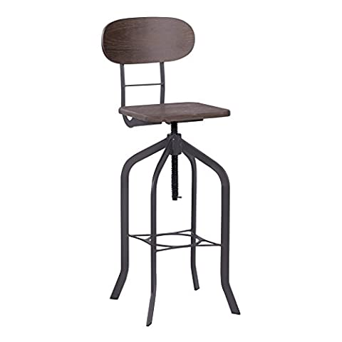 Wooden Bar Stool Vintage industrial chic chair bamboo seat base with back support, steel frame with foot rest.