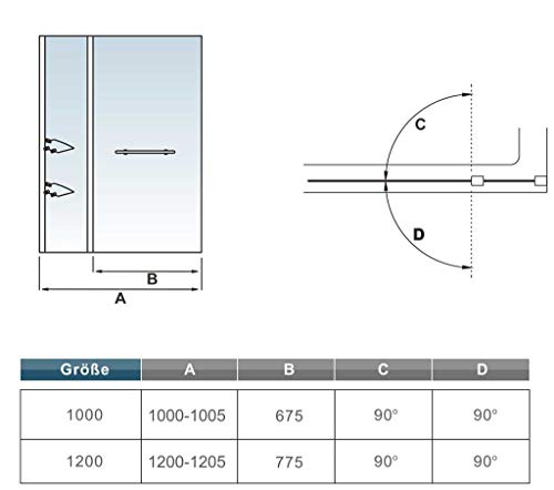 41 voKgAVOL - Bañera 2 piezas Mampara pantalla de ducha plegable vuelta 180 ° 100x140cm
