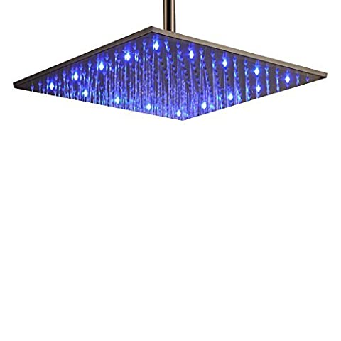 Lightinthebox® Sprinkle High Quality Splendid Brushed 16 inch Stainless Steel Shower Head Fixture Bathtub Bathroom with Color Changing LED Light