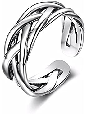 Iszie Schmuck Sterlingsilber Retro einstellbare Infinity Kreuz Ring, Infinity Blade eröffnet hohlen Kreuz Ring...