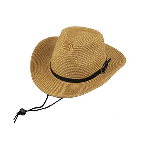 altbarer Sonnenschutz Western-Cowboy-Hut im Freien Sonnenschutz Tourist Strand große Erwachsene Kinder Strohhut (Khaki) ()