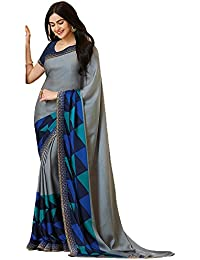 TRYme Fashion Women's Lycra Saree With Blouse Piece (T1_Light Pink_Free Size)
