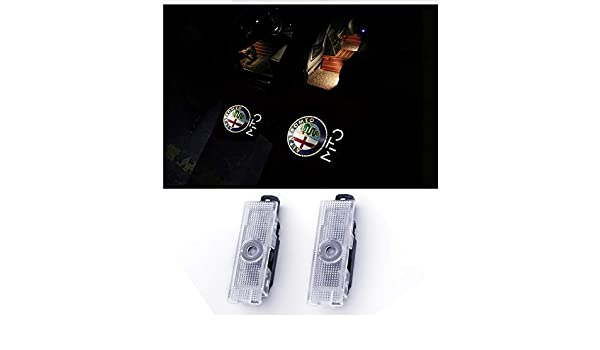 2 pezzi Porta per auto LED Lighting Proiettore Ghost Shadow Proiettile Cortesia Welcome Logo Light Lamp per Romeo Series