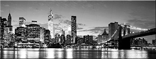artissimo, Glasbild, 80x30cm, AG1942A, Himmel über New York, schwarz weiß, Bild aus Glas, Moderne Wanddekoration aus Glas, Wandbild Wohnzimmer modern