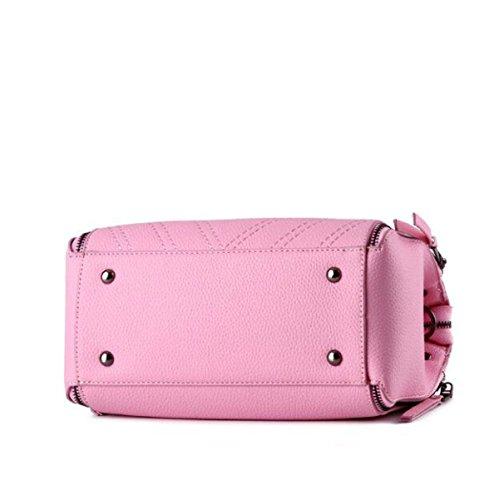 Damen Retro Mode Handtasche Große Kapazität Niet Reißverschluss Messenger Bag Purple