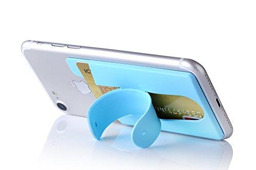 Kronya® | Smartphone Kartenhalter mit Ständer | Auto Case Etui Finger Fitness Geldbeutel Geldbörse Halter Halterung Handy Hülle Kopfhörer Sport Apple iPhone 7 8 X Samsung Galaxy S8 (Hellblau)