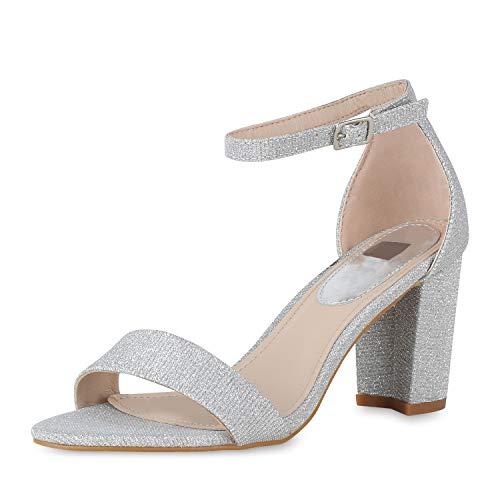 mps Riemchensandaletten Glitzer Sandaletten Party Sommer Schuhe Elegante Blockabsatz Abendschuhe 173851 Silber Cut-Outs 41 ()