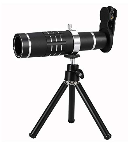 WYJ Handy-Kameraobjektiv-Kit Universelles Objektiv Mit 18Fach Optischem Zoom Und Teleobjektiv Mit Stativ,Schwarz,Fernrohr