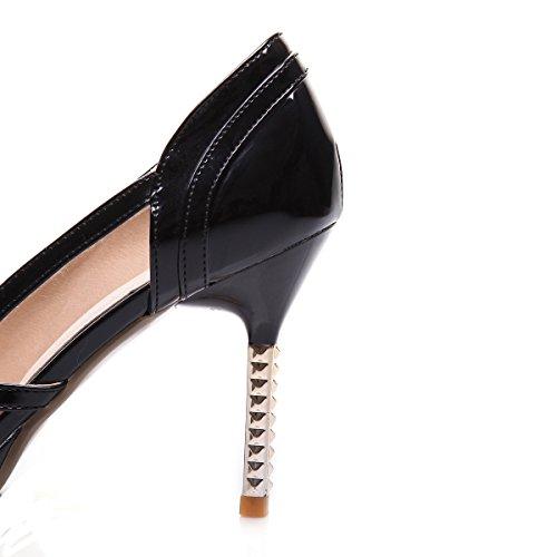 Heels Plateau High Schwarz Schleife 9cm Lack Elegant Work Absatz Mit Spitze Ye Pumps Stiletto Damen Schuhe Party Geschlossen PEqRIWEtn