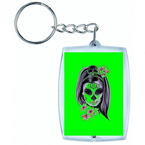 Druckerlebnis24 Schlüsselanhänger Maske- Karneval- Horror- KOSTÜM- Frau- MÄDCHEN- Knochen- SCHÄDEL- Halloween- Hexe in Grün | Keyring - Taschenanhänger - Rucksackanhänger - Schlüsselring (Halloween Schädel Und Knochen)