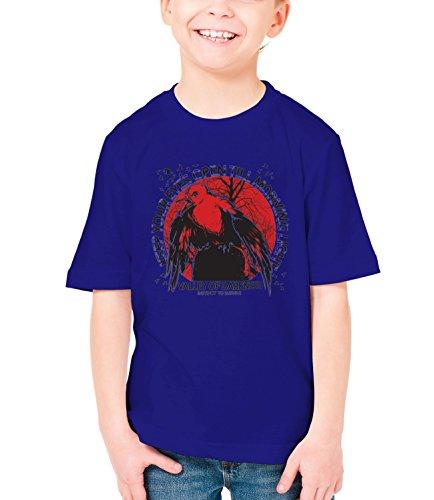 Three Monkeys Survivor Bird Animals Collection Boys Classic Crew Neck T-Shirt Dark Blue X-Large
