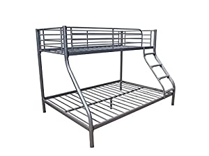 Triple sleeper bunkbed in silver metal - Double bed base and single on top- slatted frame included-Annette