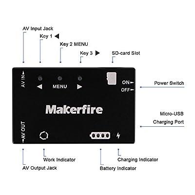 Makerstack Mini FPV DVR Recorder, HD AV Recorder Micro Video Audio Recorder NTSC Support 32G TF Card for FPV Goggles Racing Drone FPV Quadcopter
