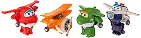 Super Wings – Transform-a-Bots – Jett, Mira, Paul, Grand Albert – 4 Mini Avions Transformables 5 cm