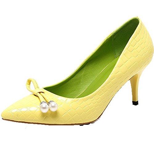 AllhqFashion Femme à Talon Haut Couleur Unie Verni Tire Pointu Chaussures Légeres Jaune