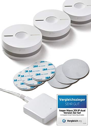 iHaus Rauchmelder & Wärmemelder 3ER Set - per Funk vernetzbar + Rauch- & Hitze Dualmelder + WLAN Gateway + Benachrichtigung auf Smartphone + 10 Jahresbatterie, Smart Home App (VDs, DIN EN 14604)