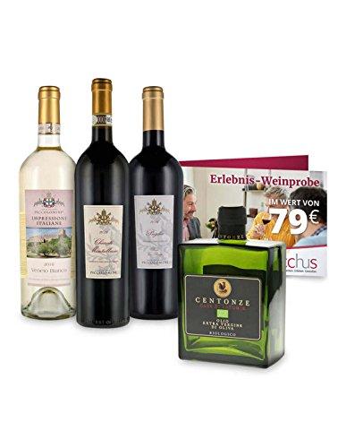 Weinpaket Weine für den Koch - 3 italienischer Wein trocken & 1 Flasche Bio Olivenöl -...