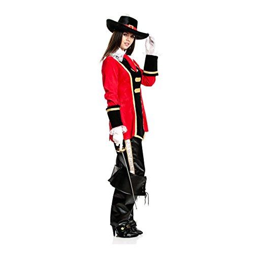 Kostümplanet® Musketier-Kostüm für Damen mit Spitzkragen und Krawatte, Größe: 36 / 38, Farbe: rot-schwarz, Verkleidung für Karneval, Fasching