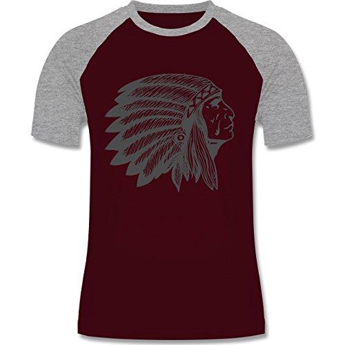 Shirtracer Boheme Look - Indianer Häuptling Handzeichnung - Herren Baseball Shirt Burgundrot/Grau meliert