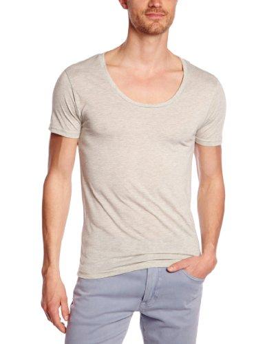 Eleven Paris Herren T-Shirt L2 BASIC LARGE NECK SS, Einfarbig Grün (M120 Kaki Chiné)