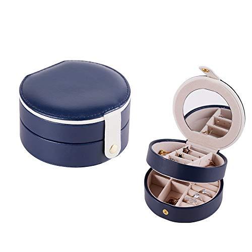 e Kleine Schmuck Organizer Tragbare Halbkreisförmige Box für Frauen Mädchen Mit Spiegel 2 Schicht Aufbewahrungskoffer mit Druckknopf für Ohrringe,Blue ()