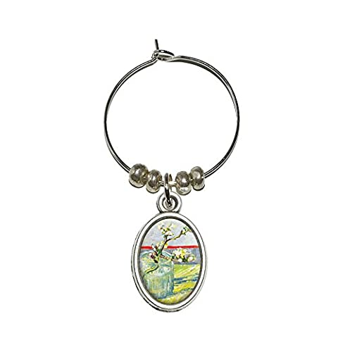 Almond Blossom Branch - Van Gogh Wine Glass Oval Charm Drink Marker