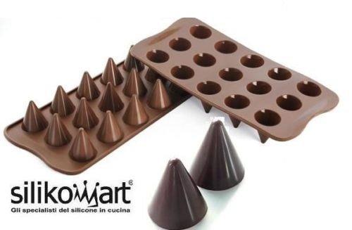 silikomart Stampo CIOCCOLATINI in Silicone KONI - Coni Easy Choc Decora Torte Biscotti A Forma di Cono