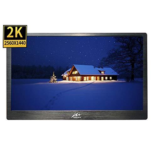 13,3 Zoll 2K Tragbarer Monitor mit HDMI, Kenowa 2560 * 1440 Pixel IPS Bildschirm kompatibel mit Raspberry pi 3 b+ PS3 PS4 Windows 7 8 10 (Dual HDMI, USB Powered, erbaut in Lautsprecher), Schwarz (Ps3-lautsprecher)