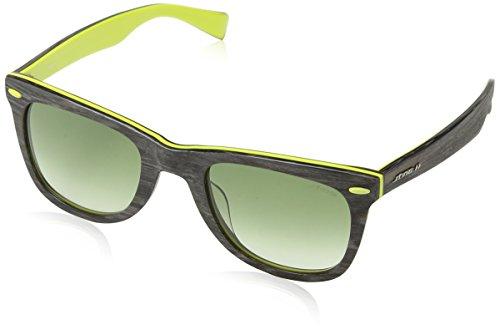 Sting ss6428, occhiali da sole uomo, verde (shiny strip.dark brown), taglia unica