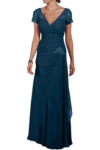 Milano Bride Hell Braun Chiffon Brautmutter Geraft Abendkleider Partykleider Promkleider Bodenlang Schmaler Schnitt Dunkel Blau