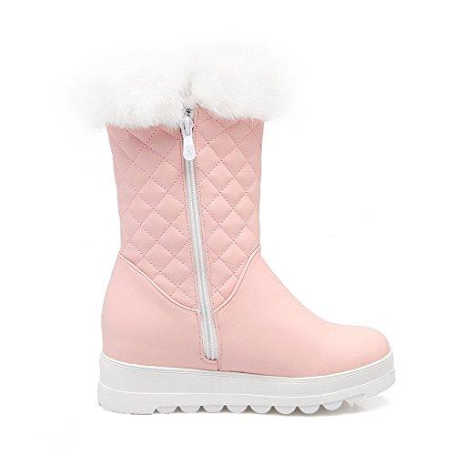 AllhqFashion Damen Ziehen auf Mittler Absatz PU Leder Rein Niedrig-Spitze Stiefel, Pink, 37