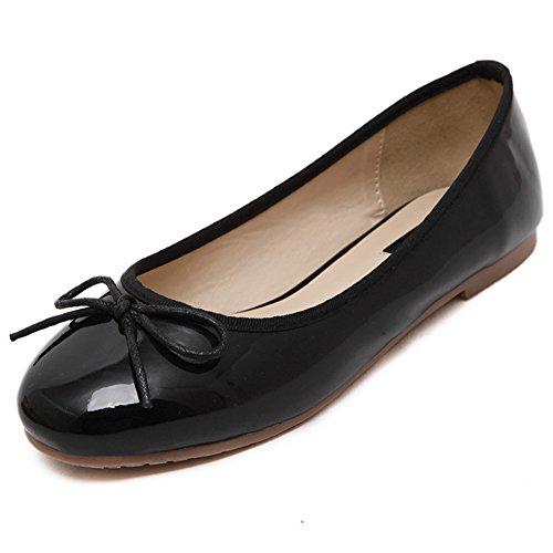 Damen Süß Schleife Faul Schuhe Rein Farbe Rund Zehen Anti-Rutschig Omelett Schuhe Schwarz