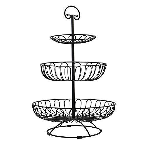 Auroni Etagere 3 Etagen - schwarz - Obstkorb Metall - Aufbewahrung - Obst- und Gemüseschale - 3 Ablagekörbe: 30 cm, 24.5 cm, 16.5 cm, Höhe: 47 cm - sofort verfügbar-
