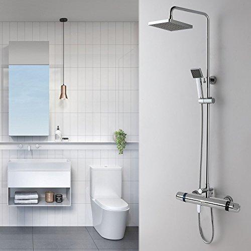Amzdeal Duscharmatur, Duschthermostat Brausethermostat mit Kupferspule, Mischbatterie Dusche Thermostat mit Safestop Vermeidung der Temperaturschwankungen, Wassertemperatur 20-50 Grad - 6