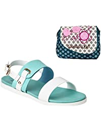 Estatos Faux Leather Open Toe Green And White Twin Strap Buckle Closure Flat Sandals With Blue Printed Clutch...