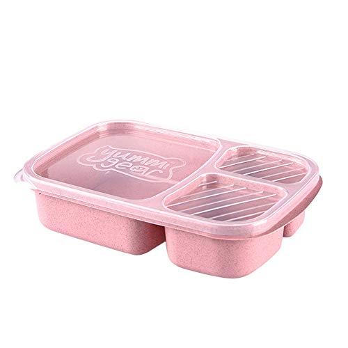 Wawer Mikrowelle Bento Box Lunch Box Picknick Essen Obst Container Aufbewahrungsbox für Kinder Erwachsene Mittagessen-Behälter mit Trennwand (Rosa) - Erwachsenen-lunch-box Rosa