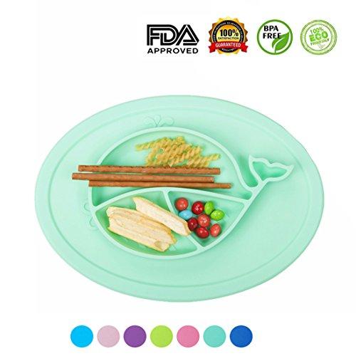 Maysurban Baby Kinder Teller Geschirrset Süße Wal Muster aus Silikon Tischset Tiffany Grün