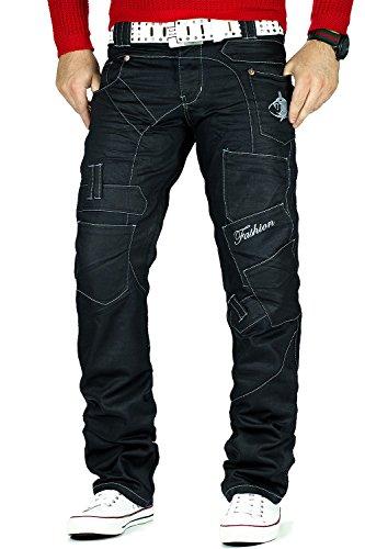 Kosmo Lupo Herren Jeans schwarz Schwarz