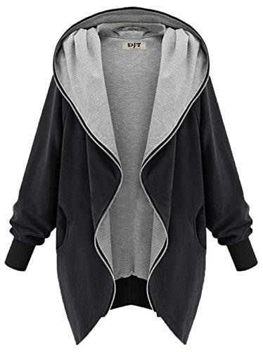 DJT Damen Übergangsjacke Zipper Jacke Hoodie Oversized Parka Kapuzenjacke Schwarz L
