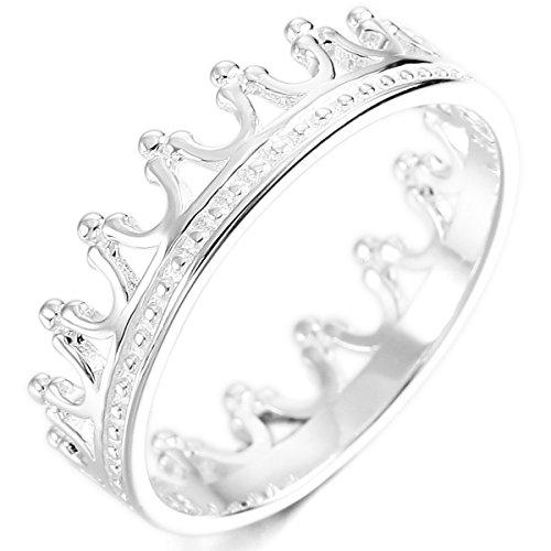 MunkiMix Sterling Silber Band Ring Silber Ton Krone Hochzeit Verlobung Größe 52 (16.6) Damen