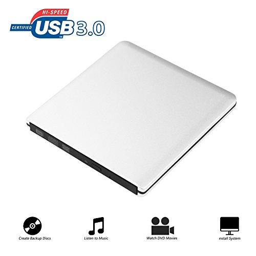 Extern DVD Laufwerk Ultraslim Tragbare CD Brenner, 9.5mm Chip, CD/DVD-RW ROM USB 3.0 Drive Externes DVD-Laufwerk Superdrive für Laptops Desktops PC unter Windows und Mac OS für Apple Macbook Pro, Macbook Air, iMac Silber