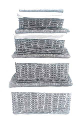 Aufbewahrungsbox, Weidenkorb mit Deckel und Stoffbezug schwarz/braun eiche/weiß, grau, Large 40X30X20cm (Körbe Wicker Storage Schwarz)