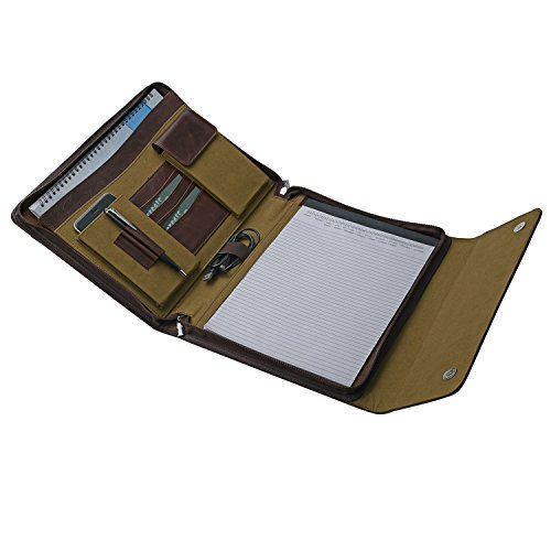 Aktenmappe aus Leder mit Notizblockhalter, Schreibblock Padfolio für A4 Notizblock / Notizbuch und Dokumente (Stift-halter Dreifach)