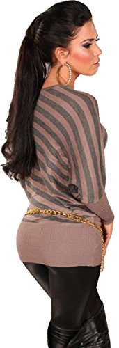 In Style Damen Pullover mit Streifen & Fledermausärmeln Einheitsgröße (34-38) Hellgrau