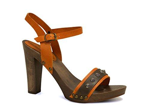 Sandali tacco legno alto in pelle di vitello arancio - Codice modello: 100 ARANCIONE - Taglia: 37 IT